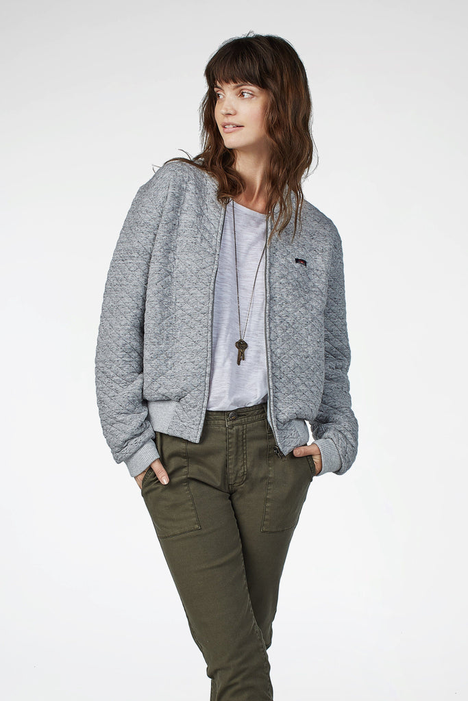 Alana Reversible Bomber - Heather Grey/Vapor Blue Arrow