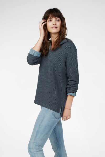Sunset Bay Reversible Poncho - Grey & Blue