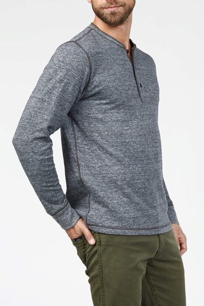 Dual Knit Henley - Charcoal