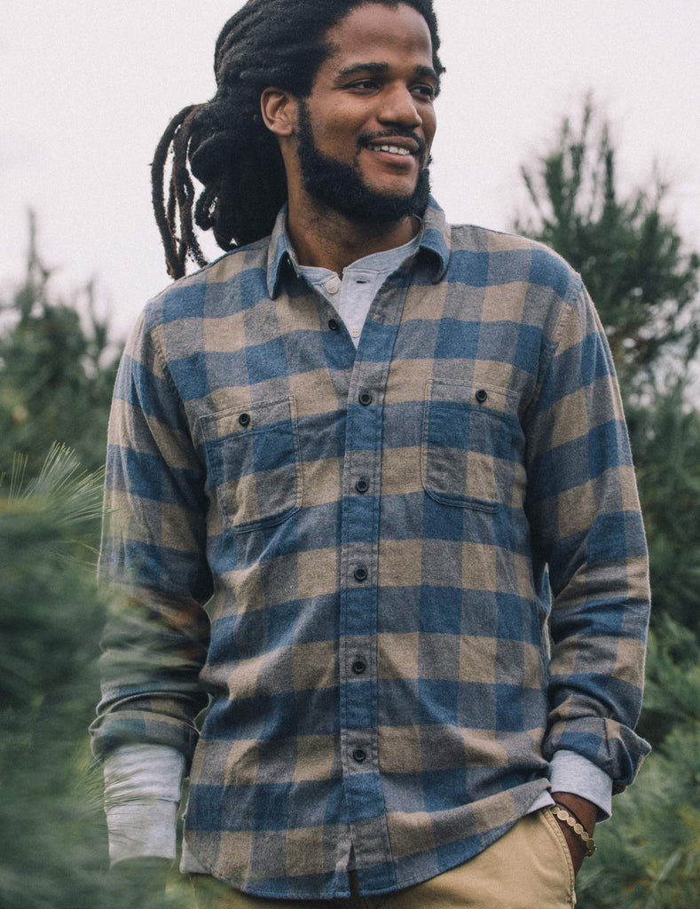 Brushed Alpine Flannel - Blue & Brown Buffalo Check