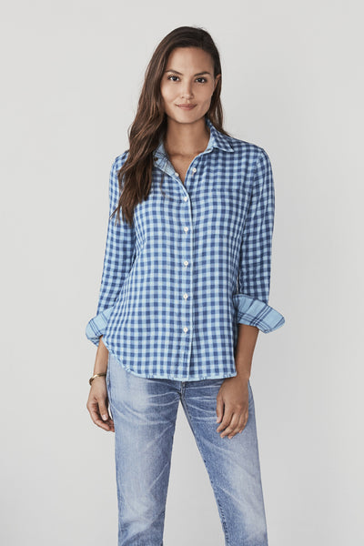 Reversible Belmar Shirt - Sky Blue Indigo Plaid
