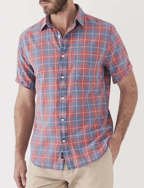 Short-Sleeve Ventura Shirt - Indigo Red Plaid