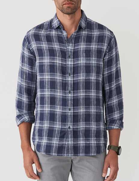 Linen Ventura Shirt - Navy Seaside Check