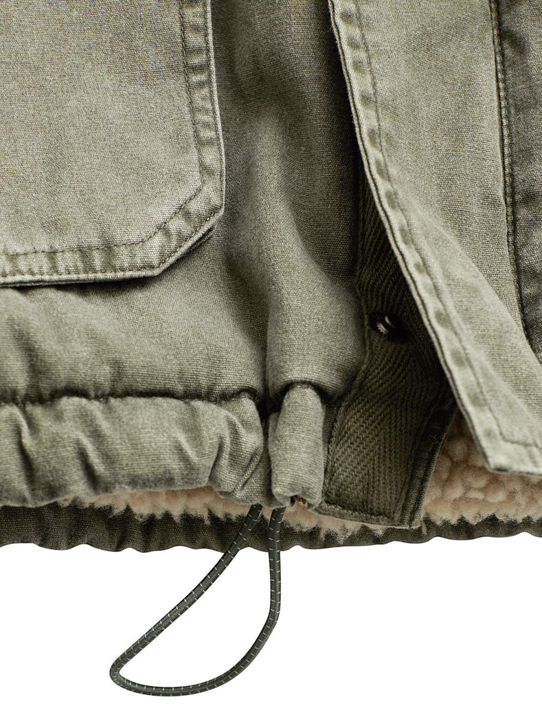 Sherpa Lined Utility Parka - Washed Olive