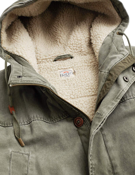 Sherpa-Lined Utility Parka - Washed Olive