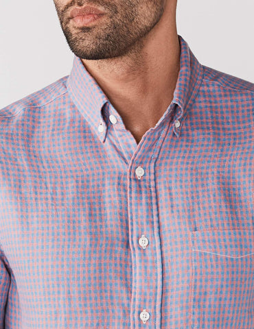 Linen Ventura Shirt - Red & Blue Check