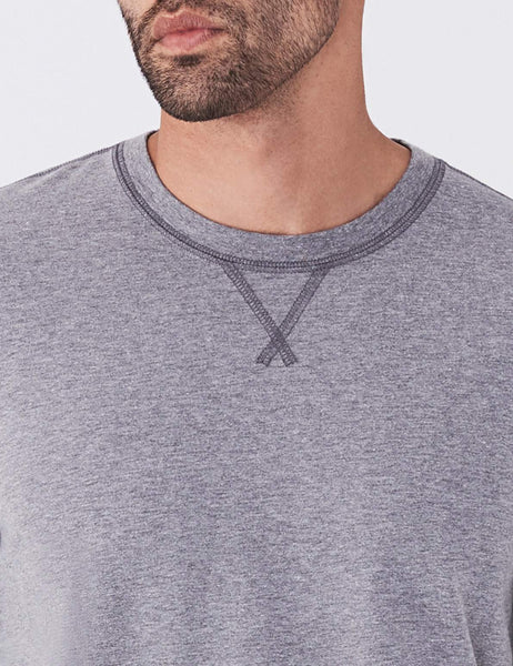 Long-Sleeve Notch Crewneck  - Grey