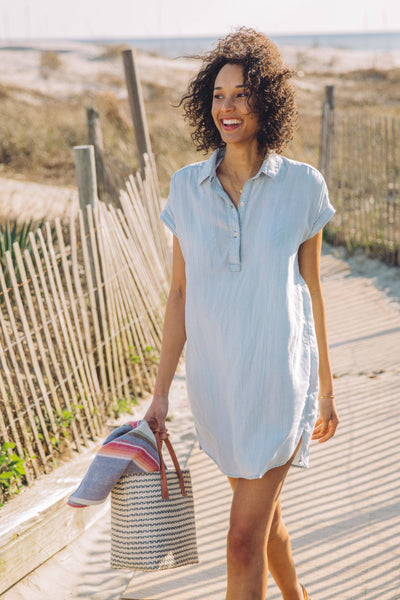 Railay Dress - Faded Indigo Stripe