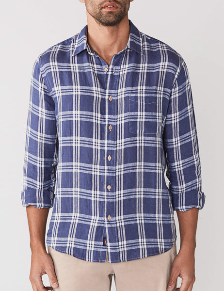 Linen Ventura Shirt - Faded Navy Plaid