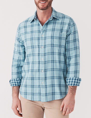 Reversible Belmar Shirt - Sky Blue & Indigo Plaid