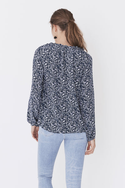 Silk Isla Top - In Bloom Navy