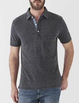 Indigo Polo - Black Indigo Stripe