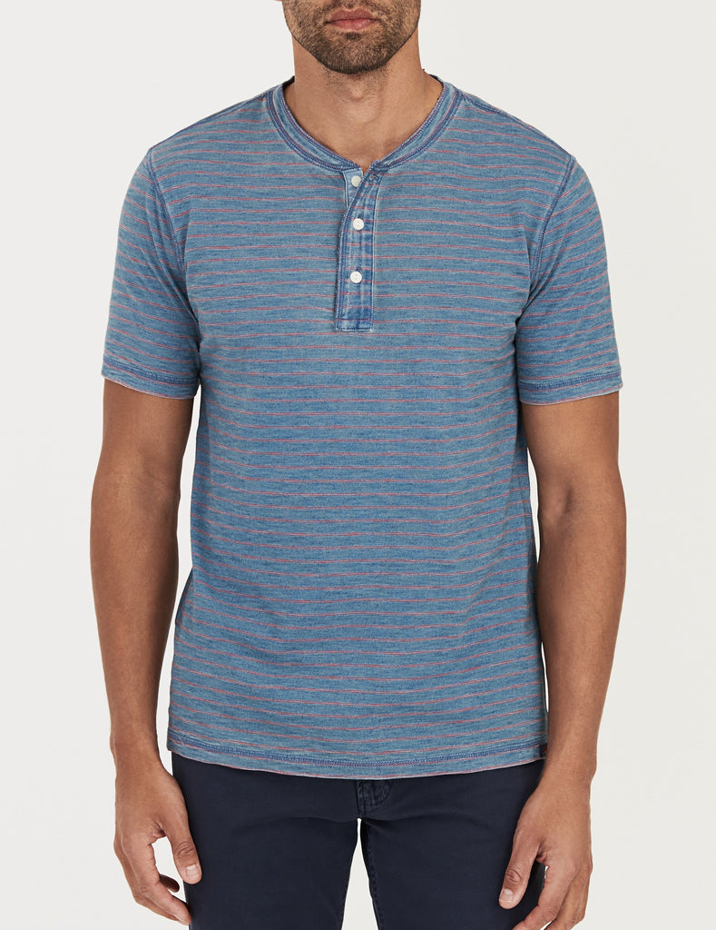 Short-Sleeve Indigo Henley - Vintage Wash Red Stripe