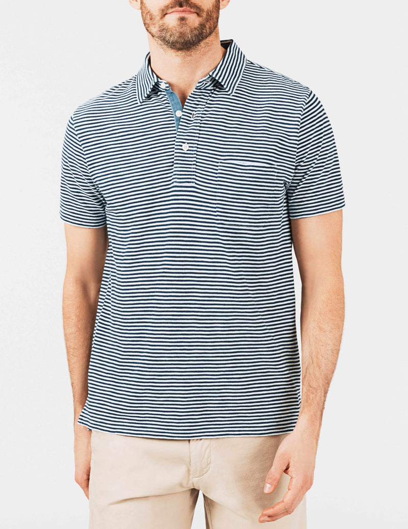 Indigo Polo - Dark Wash Stripe