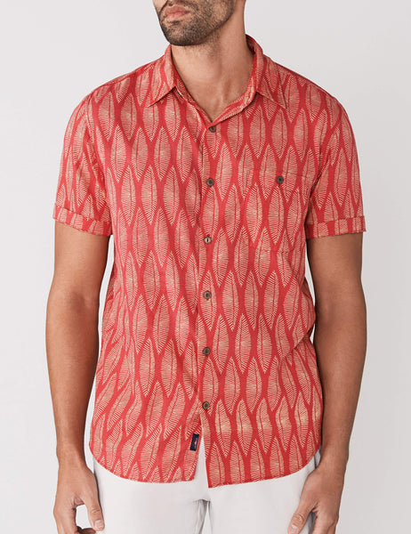 Short-Sleeve Coast Shirt - Surfboard Leaf Print
