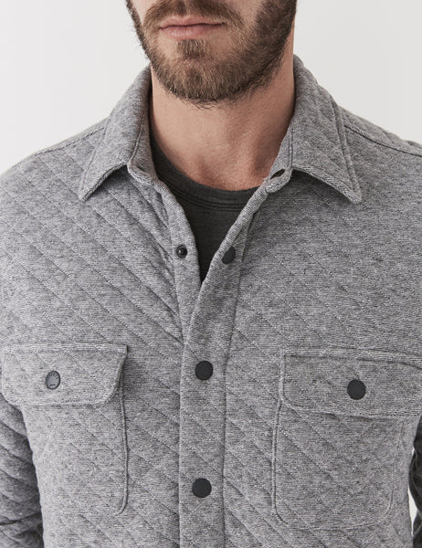 Quilted Snap Shirt Jacket - Grey Feeder Stripe