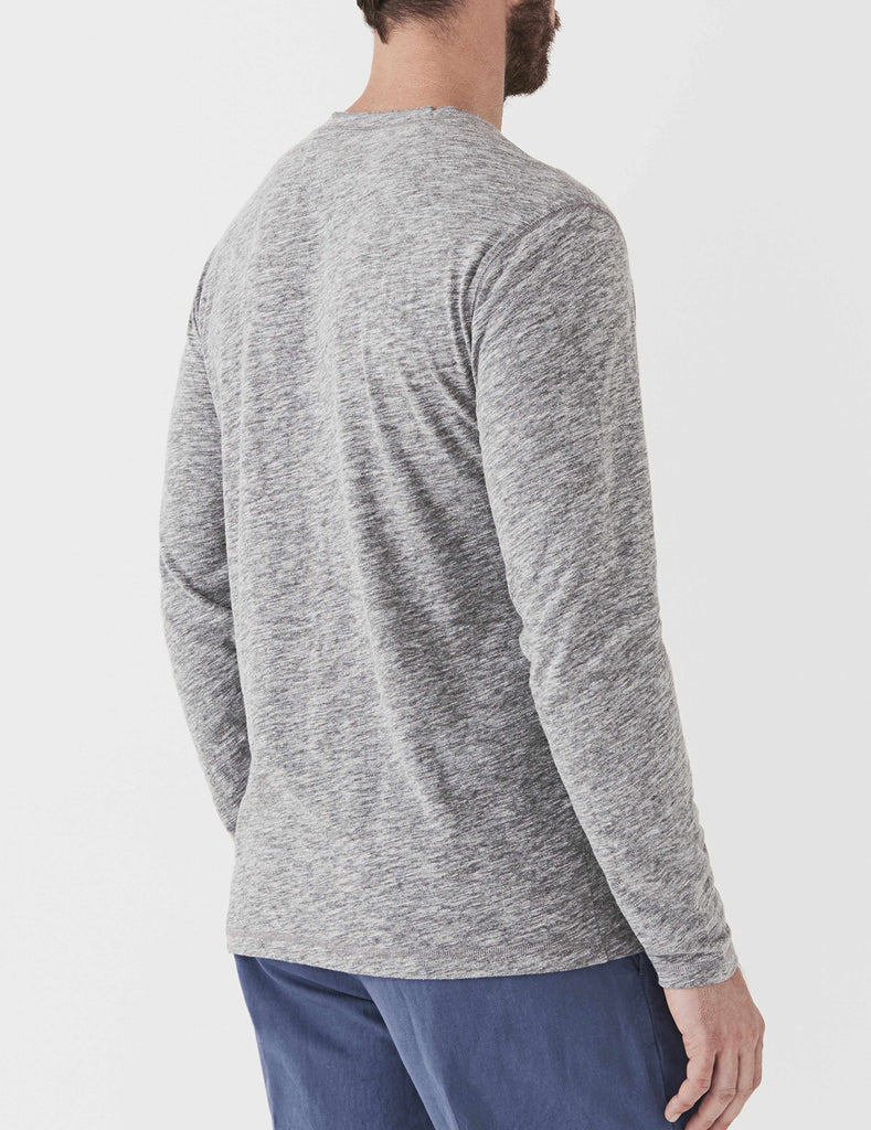 Long-Sleeve Heather Henley - Charcoal