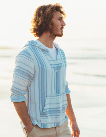 Doublecloth Baja Poncho - Light Indigo Serape