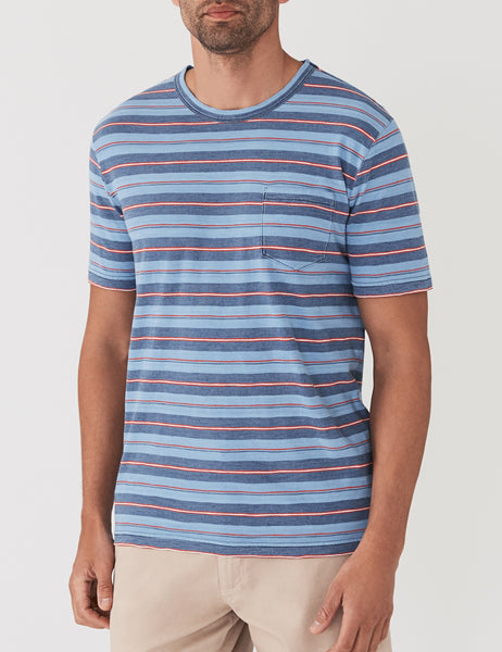 Vintage Stripe Pocket Tee - Indigo Multi