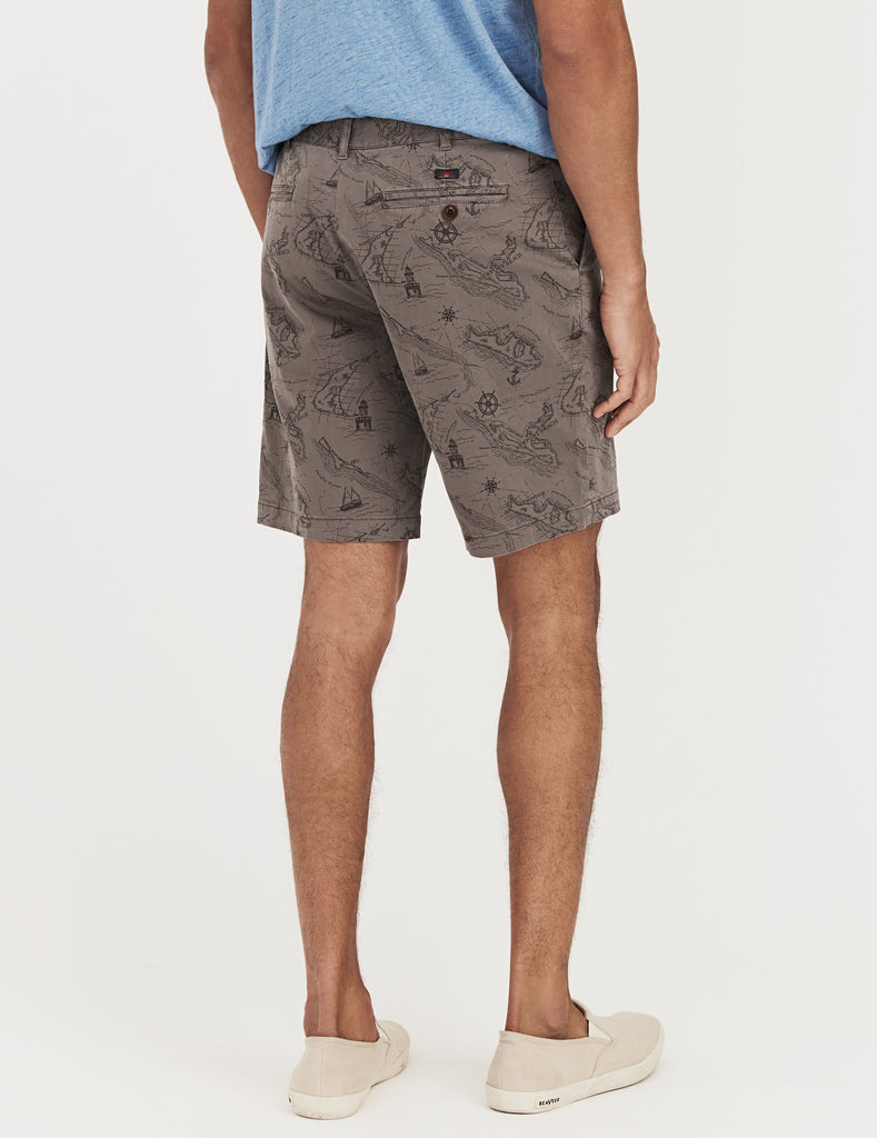 Printed Stretch Chino Short - Map Print Slate