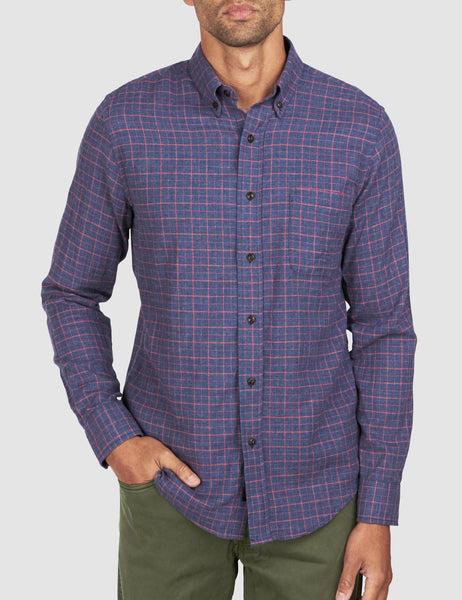 Pacific Shirt - Charcoal Coral Windowpane