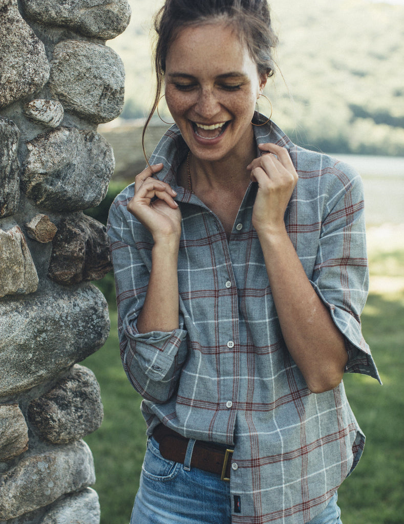 Malibu Heathered Twill Shirt - Charcoal Spice Plaid