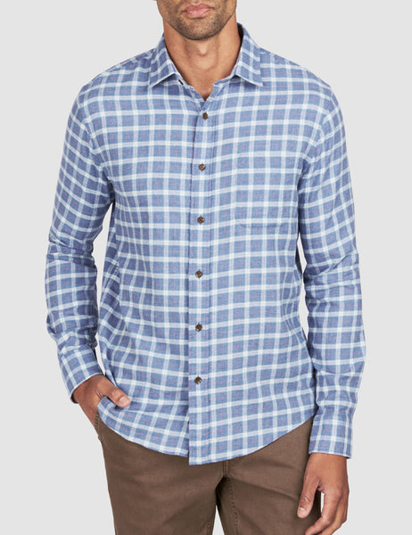Ventura Shirt - Heather Blue Check