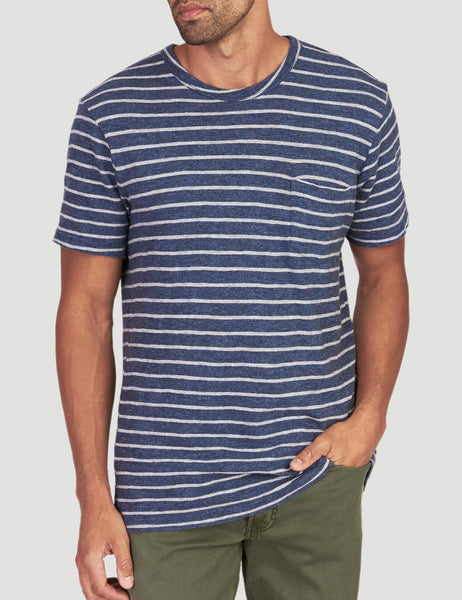 Striped Slub Cotton Pocket Tee - Navy Stripe