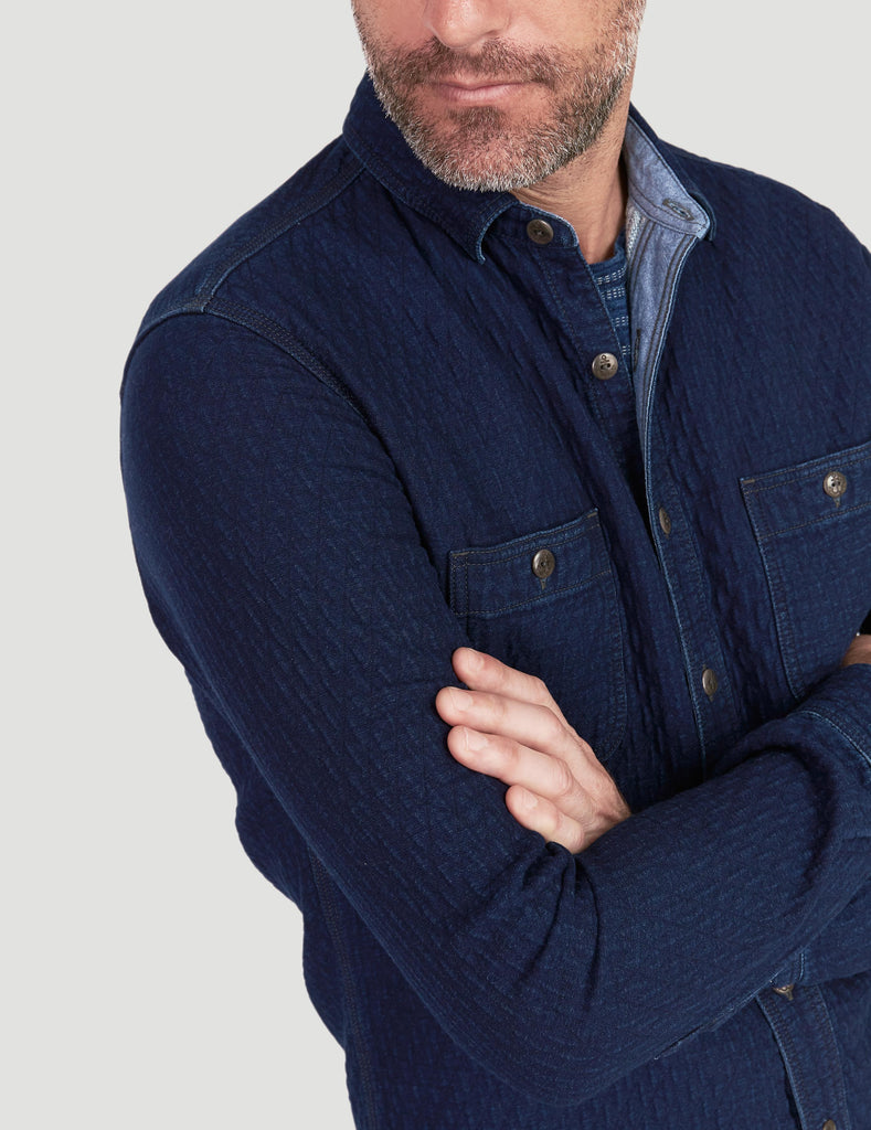 Quilted Naval Workshirt - Dark Java Wash