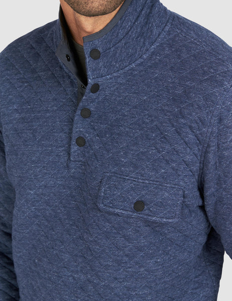 Quilted Snap Pullover - Navy Heather