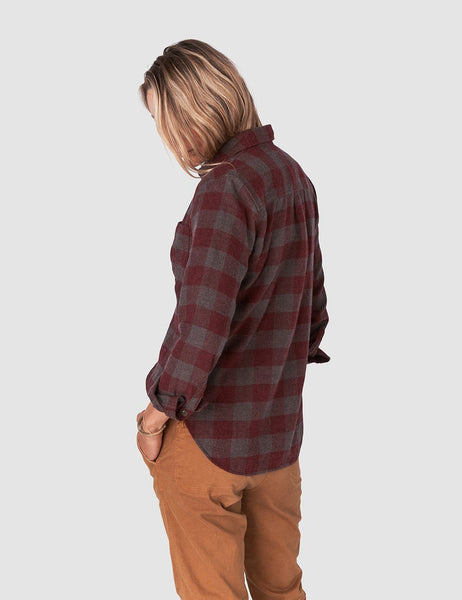 Malibu Flannel Shirt - Wine Chestnut Buffalo