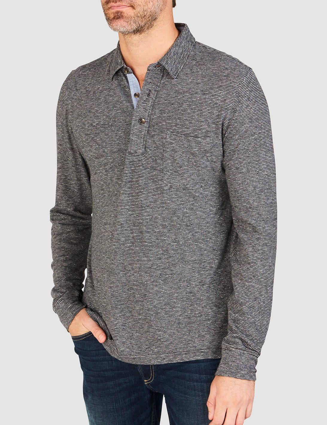 Luxe Heather Long-Sleeve Polo - Charcoal Stripe