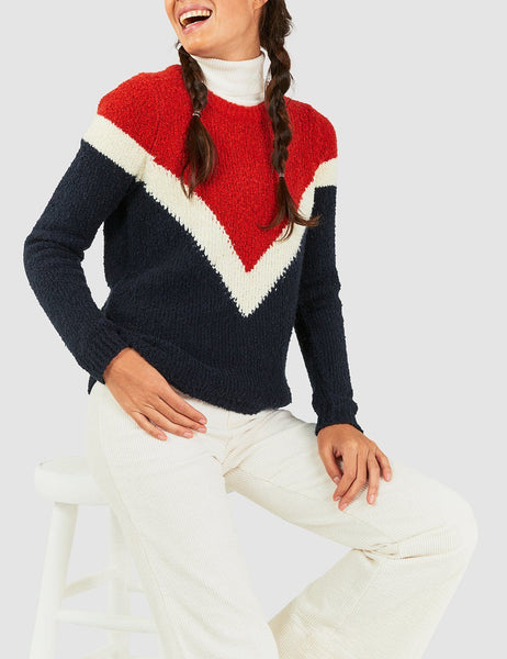 Carrigan Varsity Sweater - Varsity Ski Stripe