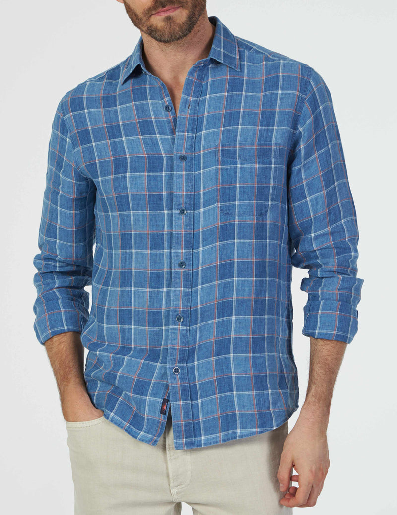 Washed Linen Shirt - Indigo Box Check