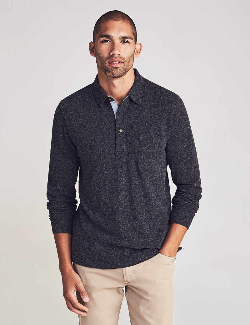 Long-Sleeve Luxe Solid Heather Polo - Washed Black
