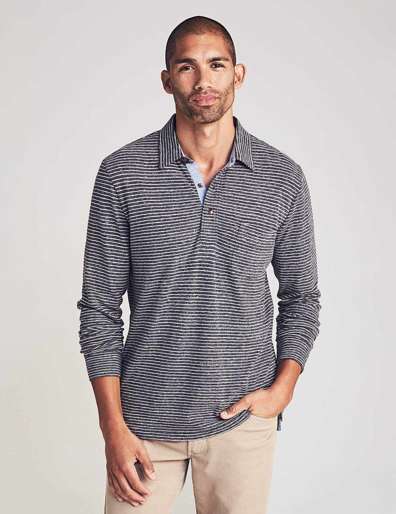 Long-Sleeve Luxe Striped Heather Polo - Charcoal Grey Stripe
