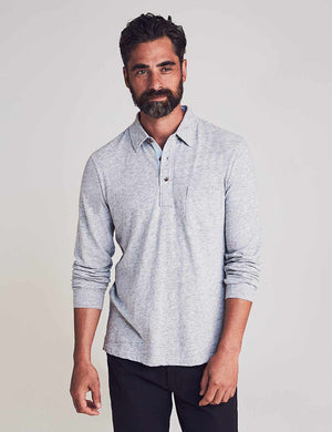 Long-Sleeve Luxe Solid Heather Polo - Athletic Grey