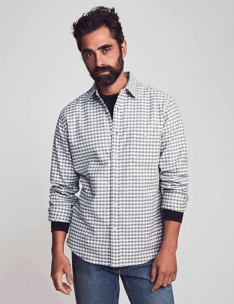 Stretch Seaview Flannel - Cream Charcoal Gingham