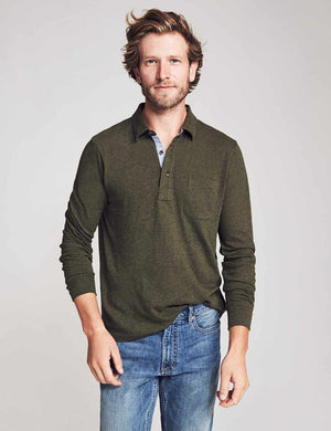 Long-Sleeve Luxe Solid Heather Polo - Olive