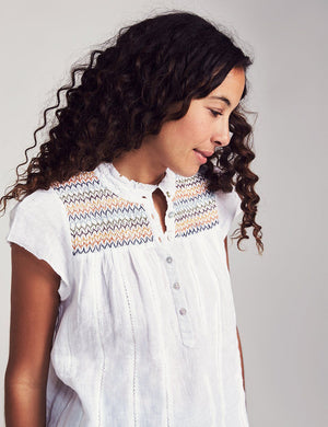 Embroidered Washed Linen Top - White