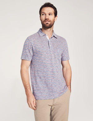Short-Sleeve Heather Striped Polo - Blue Rose Stripe