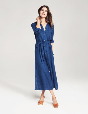 Dolly Indigo Linen Dress - Dark Wash Indigo