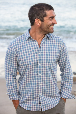 Ultra-Fine Newport Check Shirt - Navy & Heather Check