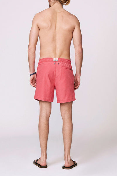 solid red men's swimsuit back