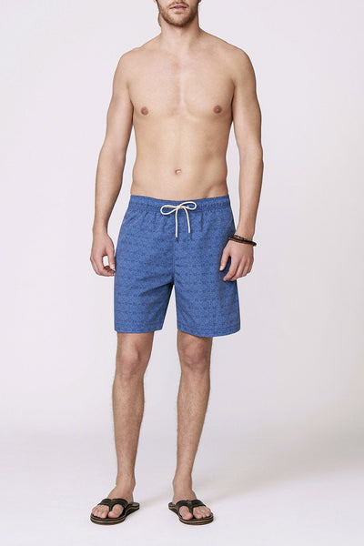 navy and blue patterned men's swimsuit front view