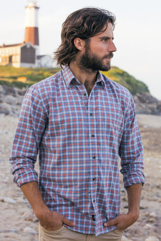 Ultra-Fine Newport Check Shirt - Orange Multi Check