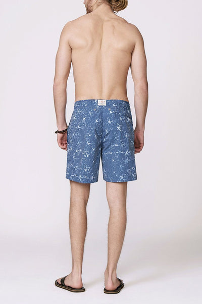 blue patterned men's swimsuit back