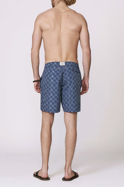 navy patterned men's swimsuit back