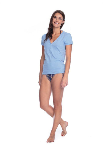 Organic Cotton V Neck Tee - Lake Blue