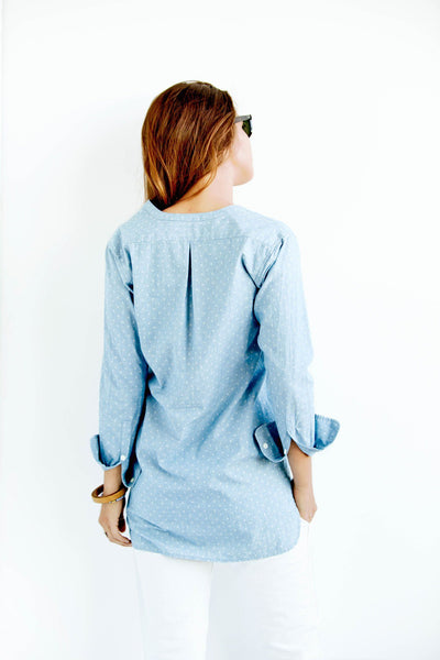 patterned chambray popover shirt back